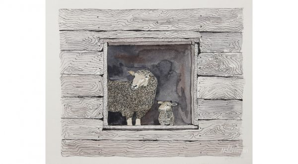 Ewe & Lamb in Barn